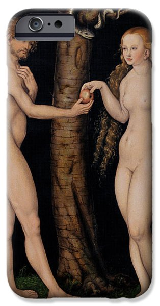 Adam And Eve In The Garden Of Eden IPhone Case by The Elder Lucas Cranach