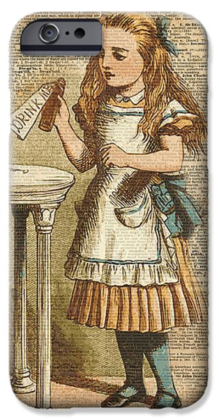 Fantasy iPhone 6s Case - Alice In Wonderland Drink Me Vintage Dictionary Art Illustration by Anna W