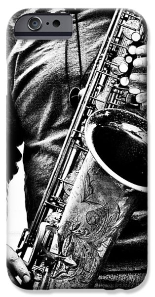 Saxophone iPhone 6s Case - All Blues Man With Jazz On The Side by Bob Orsillo