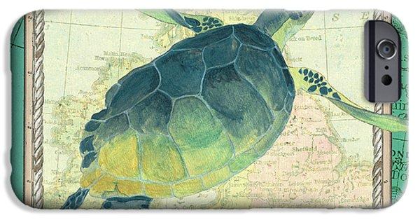 Reptiles iPhone 6s Case - Aqua Maritime Sea Turtle by Debbie DeWitt