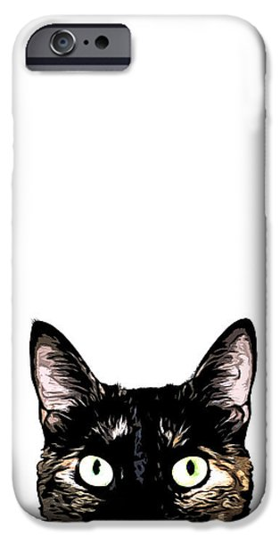 Cat iPhone 6s Case - Peeking Cat by Nicklas Gustafsson