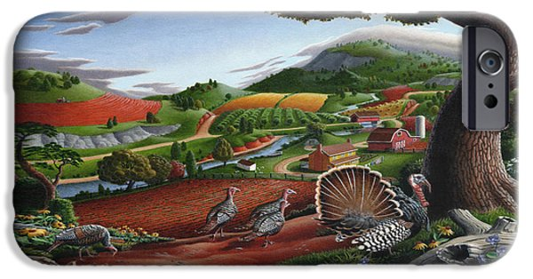 Wild Turkeys Appalachian Thanksgiving Landscape - Childhood Memories - Country Life - Americana IPhone 6s Case