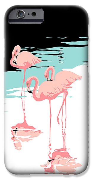 Flamingo iPhone 6s Case - Pink Flamingos Tropical 1980s Abstract Pop Art Nouveau Graphic Art Retro Stylized Florida Print by Walt Curlee