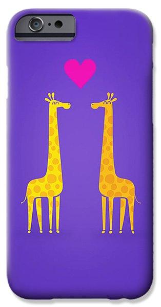 Cute Cartoon Giraffe Couple In Love Purple Edition IPhone 6s Case