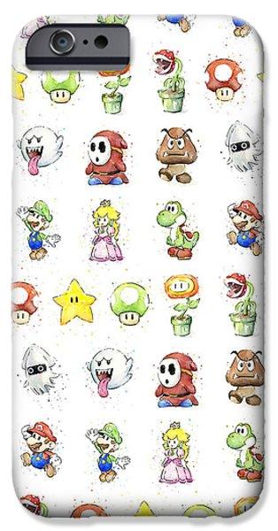 Peach iPhone 6s Case - Mario Characters In Watercolor by Olga Shvartsur