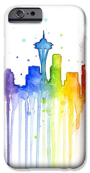 Seattle Skyline iPhone 6s Case - Seattle Rainbow Watercolor by Olga Shvartsur