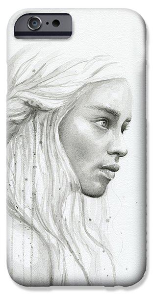 Dragon iPhone 6s Case - Daenerys Watercolor Portrait by Olga Shvartsur