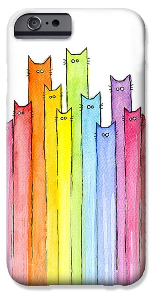 Animals iPhone 6s Case - Cat Rainbow Watercolor Pattern by Olga Shvartsur