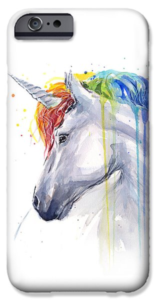 Unicorn Rainbow Watercolor IPhone 6s Case by Olga Shvartsur