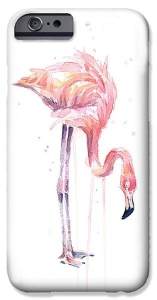 Flamingo Painting Watercolor IPhone 6s Case by Olga Shvartsur
