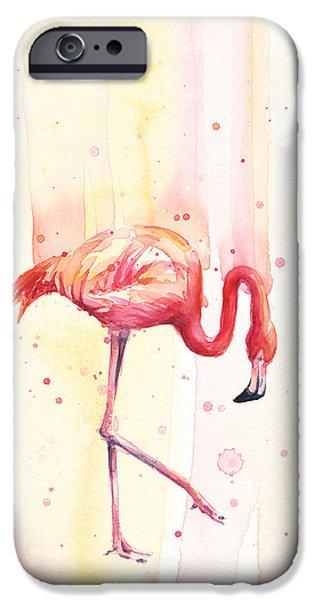 Pink Flamingo Watercolor Rain IPhone 6s Case by Olga Shvartsur