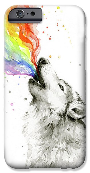 Wolf iPhone 6s Case - Wolf Rainbow Watercolor by Olga Shvartsur