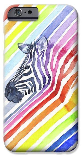 Rainbow Zebra Pattern IPhone 6s Case by Olga Shvartsur