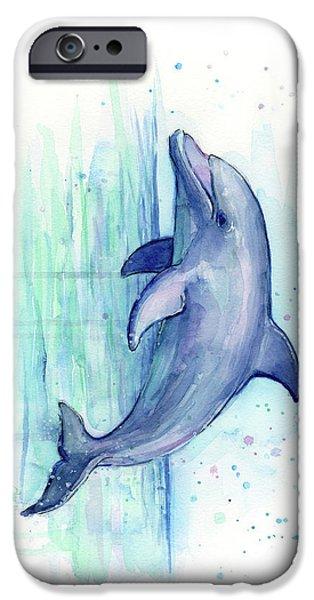 Dolphin iPhone 6s Case - Dolphin Watercolor by Olga Shvartsur