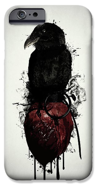 Crow iPhone 6s Case - Raven And Heart Grenade by Nicklas Gustafsson