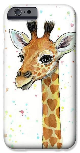 Baby Giraffe Watercolor With Heart Shaped Spots IPhone 6s Case