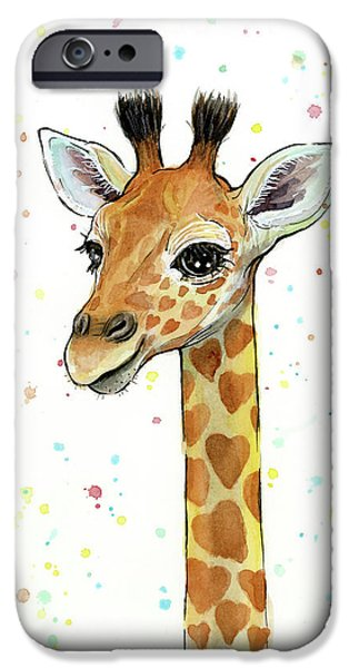 Baby Giraffe Watercolor With Heart Shaped Spots IPhone 6s Case by Olga Shvartsur