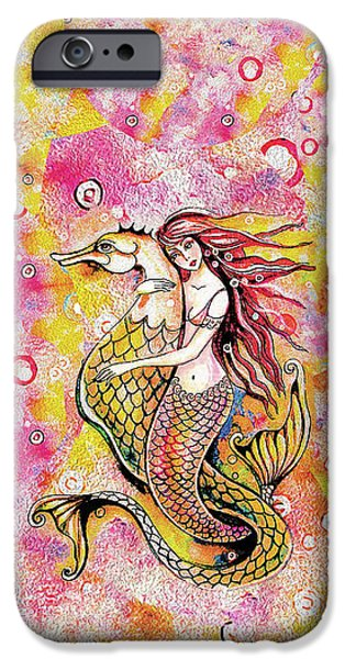 IPhone 6s Case featuring the painting Black Sea Mermaid by Eva Campbell