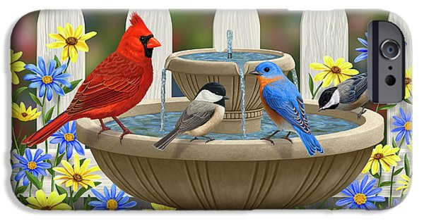 Chickadee iPhone 6s Case - The Colors Of Spring - Bird Fountain In Flower Garden by Crista Forest