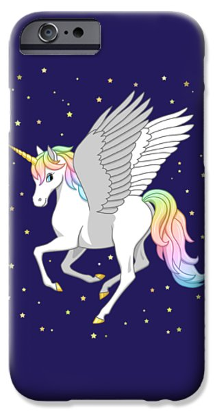 Pegasus iPhone 6s Case - Pretty Rainbow Unicorn Flying Horse by Crista Forest