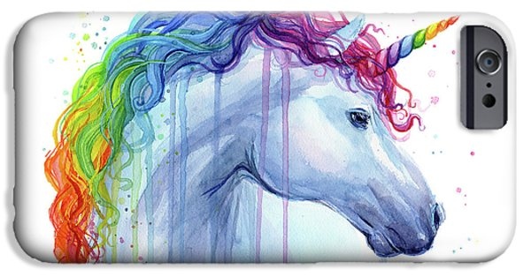 Magician iPhone 6s Case - Rainbow Unicorn Watercolor by Olga Shvartsur