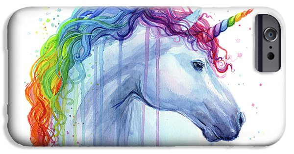 Magician iPhone 6s Case - Rainbow Unicorn Watercolor by Olga Shvartsur