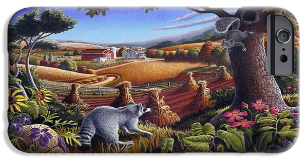 Rural Country Farm Life Landscape Folk Art Raccoon Squirrel Rustic Americana Scene  IPhone 6s Case