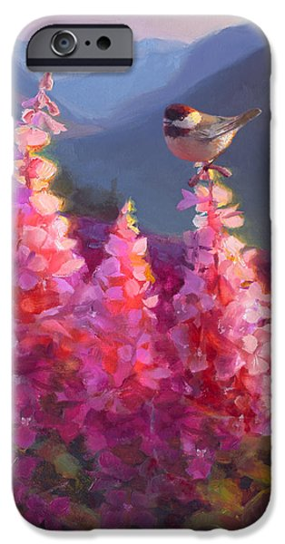 Chickadee iPhone 6s Case - Eagle River Summer Chickadee And Fireweed Alaskan Landscape by Karen Whitworth