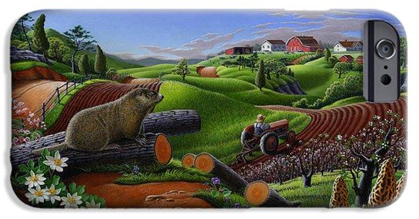 Farm Folk Art - Groundhog Spring Appalachia Landscape - Rural Country Americana - Woodchuck IPhone 6s Case by Walt Curlee