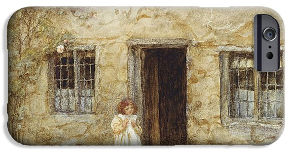 At The Cottage Door IPhone Case by Helen Allingham