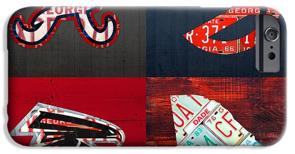 Atlanta Sports Fan Recycled Vintage Georgia License Plate Art Braves Hawks Falcons Plus State Map IPhone 6s Case