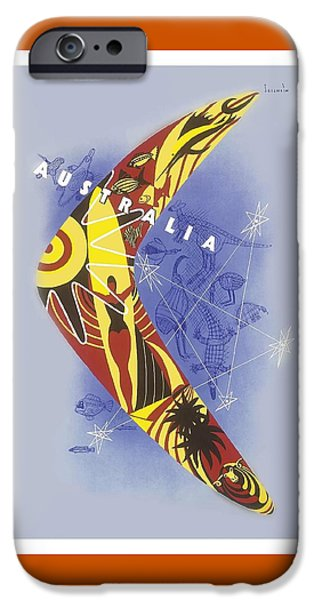 Kangaroo iPhone 6s Case - Australia Boomerang Aboriginal Art National Travel Association Vintage World Travel Poster by Retro Graphics