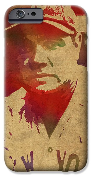 Babe Ruth Baseball Player New York Yankees Vintage Watercolor Portrait On Worn Canvas IPhone 6s Case by Design Turnpike