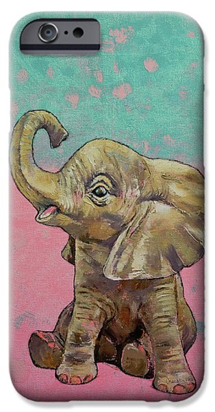 Baby Elephant IPhone Case by Michael Creese