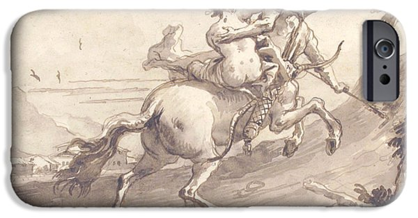 Centaur iPhone 6s Case - Back View Of A Centaur Abducting A Satyress by Giovanni Domenico Tiepolo
