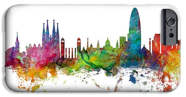 Barcelona iPhone 6s Case - Barcelona Spain Skyline Panoramic by Michael Tompsett
