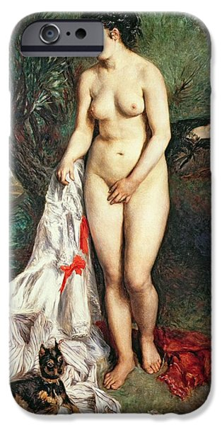 Bather With A Griffon Dog IPhone Case by Pierrre Auguste Renoir
