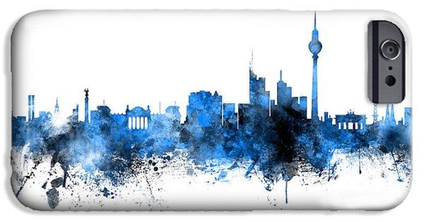 Berlin iPhone 6s Case - Berlin Germany Skyline Blue Signed by Michael Tompsett