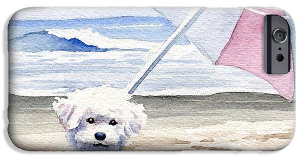 Contemporary Realism iPhone 6s Case - Bichon Frise At The Beach II by David Rogers