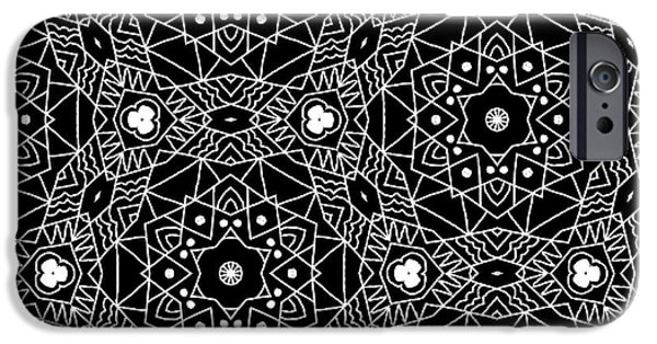Niagra Falls iPhone 6s Case - Black And White Boho Pattern 3- Art By Linda Woods by Linda Woods