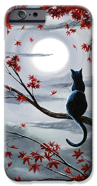 Moon iPhone 6s Case - Black Cat In Silvery Moonlight by Laura Iverson