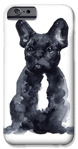 Black French Bulldog Watercolor Poster IPhone 6s Case by Joanna Szmerdt