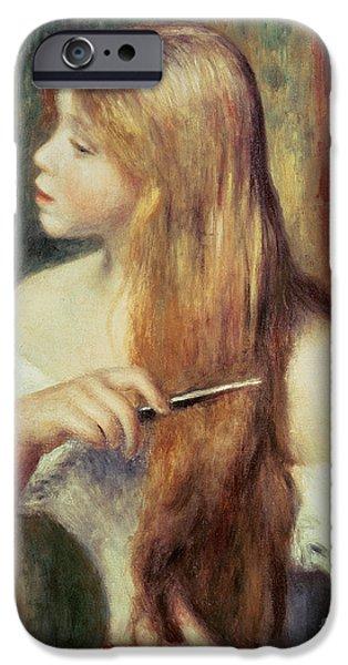 Blonde Girl Combing Her Hair IPhone Case by Pierre Auguste Renoir