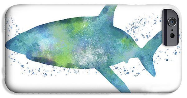 Swimming iPhone 6s Case -  Blue And Green Watercolor Shark 1-art By Linda Woods by Linda Woods