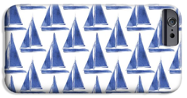 Sailboat iPhone 6s Case - Blue And White Sailboats Pattern- Art By Linda Woods by Linda Woods