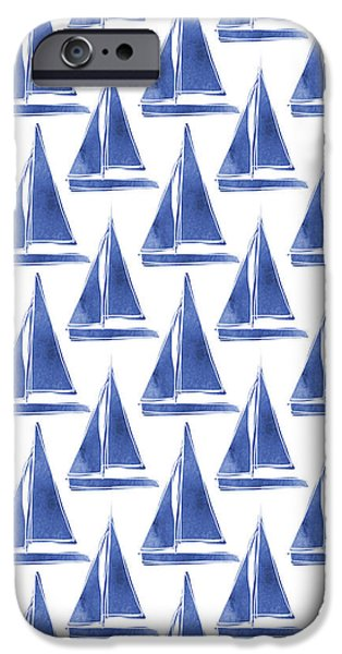 Boat iPhone 6s Case - Blue And White Sailboats Pattern- Art By Linda Woods by Linda Woods