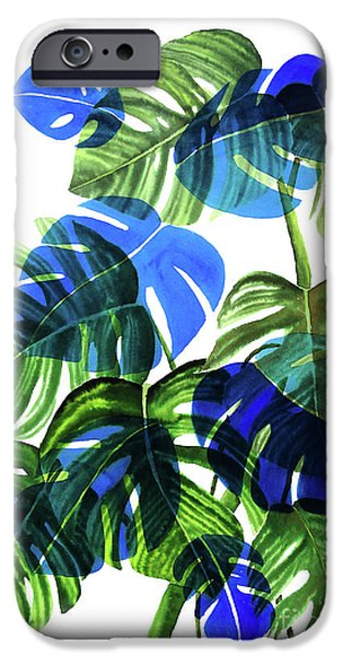 Blue Monstera IPhone 6s Case by Ana Martinez