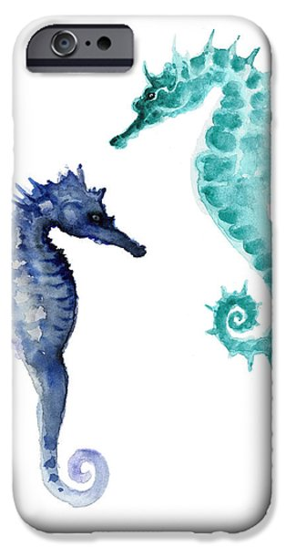 Blue Seahorses Watercolor Painting IPhone 6s Case by Joanna Szmerdt