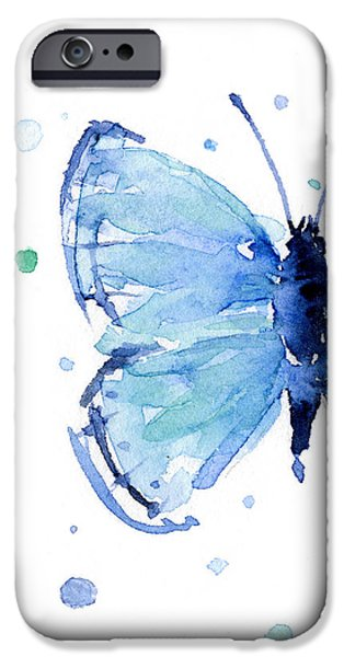 Blue Watercolor Butterfly IPhone 6s Case by Olga Shvartsur