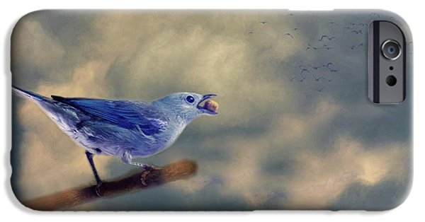 Blue Berry iPhone 6s Case - Bluebird With Berry by Rebecca Cozart